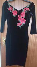 Quiz Black Velvet Embroidered Midi Dress Size