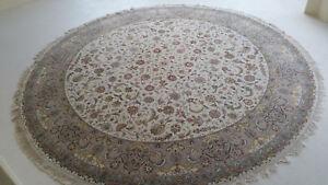 """10' Round carpet Hand Knotted Rug 9'.4"""" X 9'.4"""" very Fine Oriental Wool & Silk"""