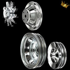 4 pulley set for SB Chevy LWP With Alt A/C and  press on power steering chrome