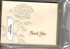 Ivory Rose Pearl Theme Thank You Note Cards American Greetings - Set of 10