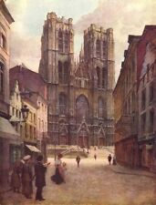 BELGIUM. The Cathedral of Ste Gudule, Brussels 1908 old antique print picture