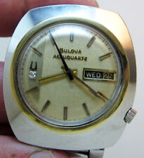 SERVICED 2242 ACCUTRON ACCUQUARTZ STAINLESS STEEL TUNING FORK MAN WATCH N4