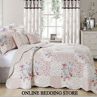 Beautiful Floral Vintage Patchwork (Meadow) Quilted Bedspread & 2 Pillow Shams