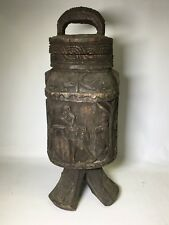 VINTAGE ARTISTIC HAND-CARVED WOODEN AFRICAN ART LIDDED CONTAINER
