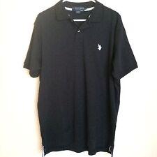 US Polo Assn Men's Black Casual Short Sleeve Polo Shirt L 100% Cotton