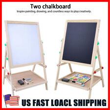 Kids Easel Art Children Whiteboard Blackboard Stand Wooden Chalk Drawing Board