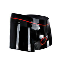 Men Knickers Latex Underpants Boxer With Trims Ring Hole Briefs 0.4mm Hand-made