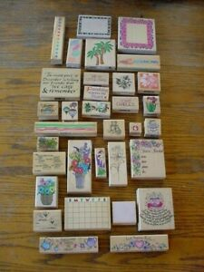 Lot (33) Rubber Stamps Wood Mounted Mixed Lot Assorted Themes, Hero, Inkadinkado
