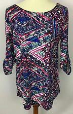 Cable & Gauge Multi-Color Geometric Print 3/4 Roll Tab Sleeve Top Shirt Size L