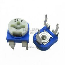 200K ohm Vertical Variable Resistor Trimmer Potentiometer Blue 50Pcs new