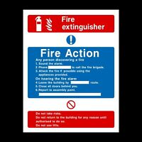 Fire Action Fire Extinguisher Rigid Plastic Sign OR Sticker - All Sizes (FA7)