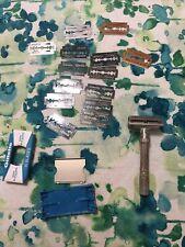 Gillette Slim adjustable safety razor Super Blue Blades And Assorted Blades