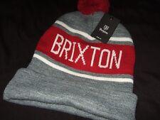 NWT Adult Sized Heather Gray Brixton Pom Knit Winter Beanie Hat Ski Cap Acrylic