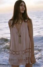 Free People Costa Brave Mini Tunic Dress Pink Med Retails $128 FP One Boho Dress