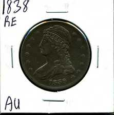 1838 Reeded Edge 50C Capped Bust Half Dollar in AU Condition #01133