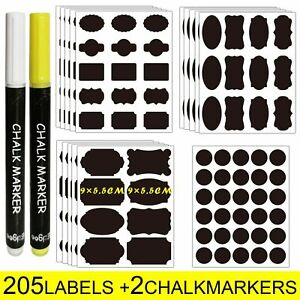 Reusable Chalkboard Labels Name Jars 205 Pcs 4 Sizes 15 Shapes & 2 Chalk Pens