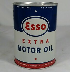 Old Esso Extra Motor Oil Tin Litho 1 Quart Can Gas Service Station Unused Nice