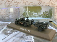 IXO MILITAIRE METAL 1/43 MILITAIRE JEEP WILLYSMB  4X4 avec remorque  WWII !!!