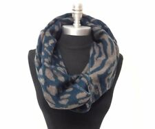 New Winter Warm Soft Infinity Scarf 2 Circle Loop Cowl Wrap Print Teal Camel