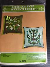 Vintage Kugel Vogart Crewel Embroidery FIELD FLOWERS Pillow Kit 292A Sealed Blue