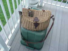 Vintage  Creel Fishing Leather Wicker Basket Leather Strap Trout - Large 16 x 7