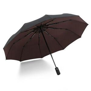 Krago Auto Open and Close 10 Fiberglass Ribs Double Canopy Umbrella Brown