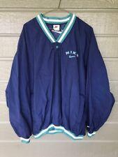 Vintage Nike Nylon Windbreaker Pullover Sweatshirt Jacket Men Lg Navy Blue Green