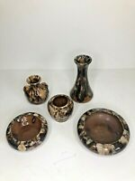 LOT OF VINTAGE MCCOY POTTERY - BROWN ONYX - Early design. Nice set. Rare.