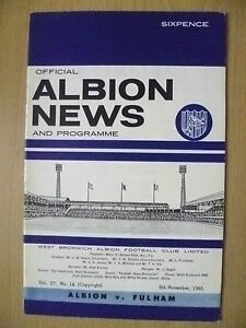 Official News & Programme + SOCCER REVIEW 1965-WEST BROMWICH ALBION v FULHAM