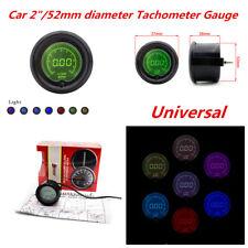 """12V 7 Colors 2"""" 52mm Car Tacho Tachometer Gauge Digital RPM LED Light Meter Kit"""