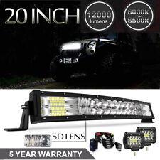"5D 20"" 120W LED Light Bar +2X4INCH 60W PODS Conbo Fit ATV TRUCK OFFROAD 12V"