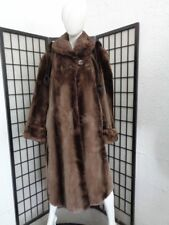 EXCELLENT BROWN SHEARED BEAVER & MINK FUR COAT JACKET WOMEN WOMAN SIZE 16-18 2XL