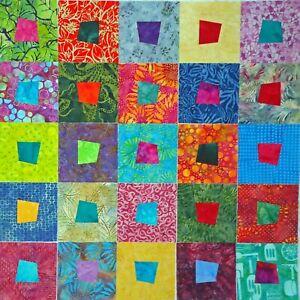 SQ-25 Batik Crazy Square Quilt Blocks L