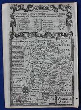Contea di originale antica mappa, Inghilterra, Warwickshire, EMANUEL Bowen, c.1724