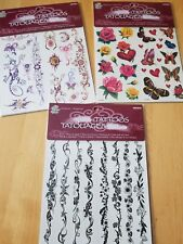 Women or Teen GirlsTemporary tattoos 3 pack lot, safe, waterproof and removable