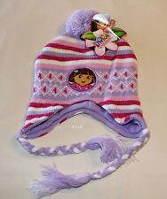 Dora The Explorer Girls Purple White Pink Long Side Beanie Size 53cm New