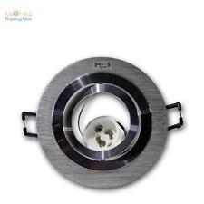 5 x GU10 Einbauleuchte Einbaustrahler Rund Aluminium gebürstet 230V Einbaurahmen