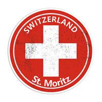 2 x 10cm St. Moritz Swiss Vinyl Stickers - Travel Sticker Laptop Luggage #23134