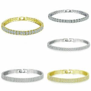 Princess 18k White Gold Women 4mm Tennis Bling Simulated Diamond Bracelet Chain
