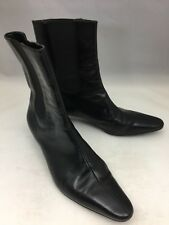 TALBOTS Black Leather Short Pull On Ankle Boots Low Heel - Size 7.5B EUC!
