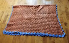Vintage Crochet Throw Blanket, Color Red Rust & Blue Edge, 74 X 52 inches