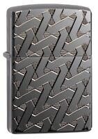Zippo Armor Geometric Weave High Polish Black Windproof Pocket Lighter, 49173