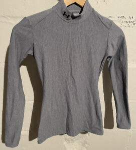 Womens Under Armor Fitted Mock Neck Base Layer Shirt Small Gray