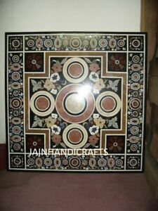 3'x3' Black Marble Table Top Coffee Center Inlay Lapis Mosaic Home Decor G608
