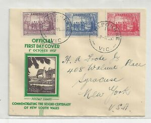 Australia 1937 New South Wales Anniversary FDC Cover, Complete St, Cachet