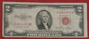 1953 Two Dollar Bills • Circulated Two Dollar ($2) Red Seal Notes