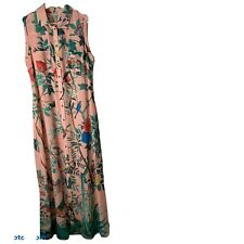 Soft Surroundings Chinoiserie Floral Embroidered Maxi Dress Women's Size Small