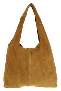 Plain Genuine Suede Shoulder Bag Open Top Handles Magnetic Snap Made in Italy