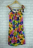 CHARLIE BROWN Dress Sz 8 Brown, Pink, Blue, Purple Floral Print