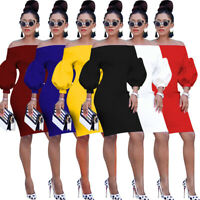 Women Boat Neck Puff Sleeves Solid Color Casual Club Party OL Bodycon Mini Dress